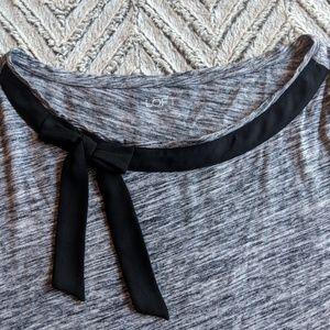 LOFT Grey Long Sleeve Tee with Black Bow